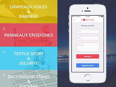 PointPub App minimal flat interface ux ui form contact mobile menu design app iphone