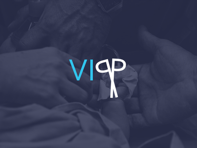 VIPP Logo simple clean scissors logotype identity branding negative space flat ui surgery design logo
