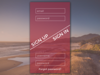 Simple SIGN UP / SIGN IN Screen