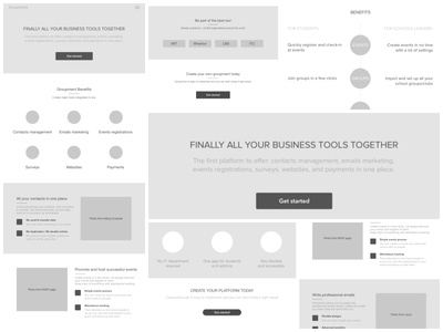 Product page wireframes