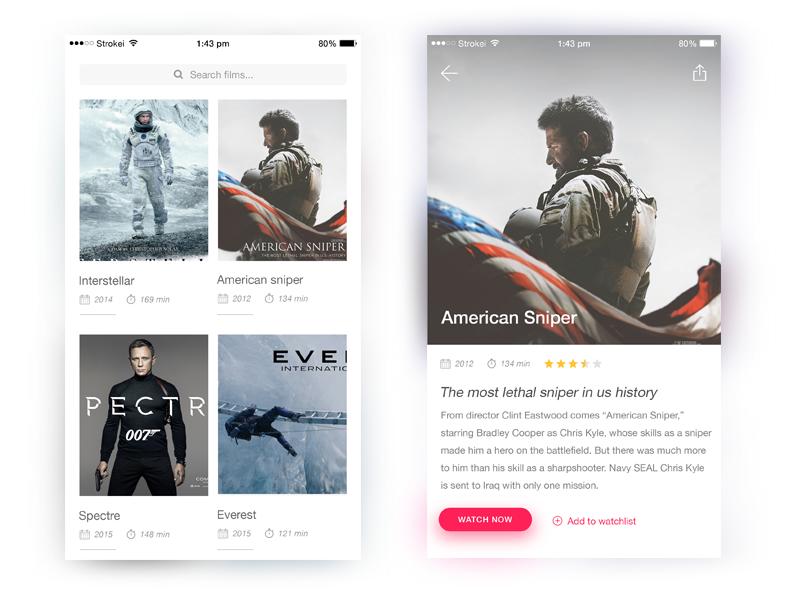 Movie Cinema App clean simple mobile design ios cinema ui movies