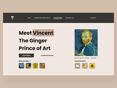 Artist page for a museum museum website design uidesign ui
