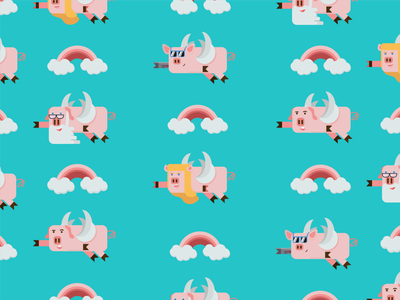When pigs fly surface pigs vector illustration design repeat pattern