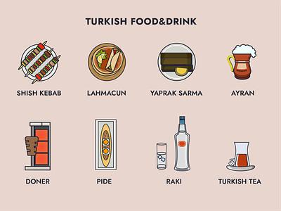 Turkish Food & Drink yaprak sarma doner ayran lahmacun shish kebab graphic design raki illustration turkish tea drink food turkish illustrator design