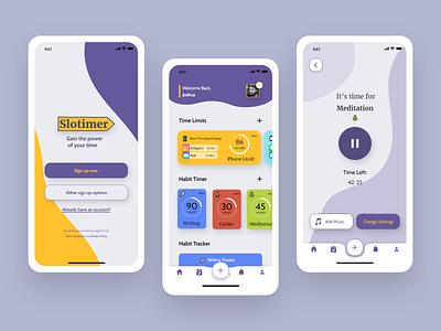 Slotimer - Time Tracker App adobexd app concept habit tracker time tracker app ux design uidesign challenge ui challenge ui