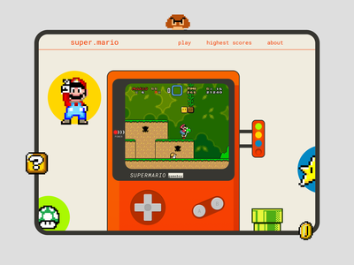 Super Mario - Retro Gaming gaming minimal illustration ux web ui challenge design gameboy retro super mario mario figma website