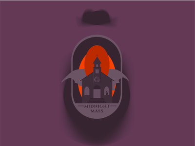 Midnight Mass midnight mass mike flanagan october orange purple illustrator graphic design vector minimal flat adobe illustrator spooktober spooky halloween illustration design
