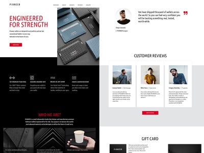 Website concept for wallets PIONEER icons red button ui minimalism design concept review eshop landing page landing page design landingpage landing red black  white wallet website design webdesign website