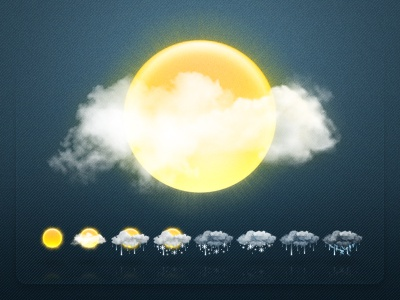 Weathericons icons set sun clouds thunderstorm rain snow weather