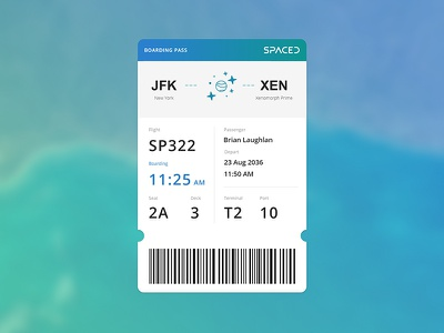 #SPACEDchallenge - Boarding Pass planet booking travel app website dann petty contest challenge logo spaced spacedchallenge