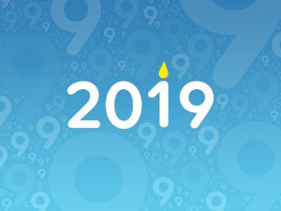 2019 - Happy Birthday Earth 🎉 typography vector illustration earth blue birthday candle date year new year random 2019