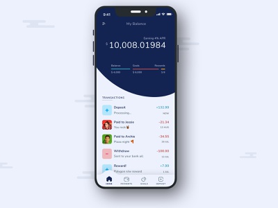 Brew — Grow your money every second! ux interest savings account fintech defi payments wallet app mobile concept cryptocurrency money balance banking illustration design ui minimal