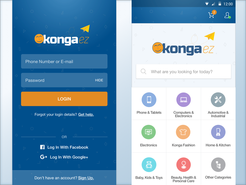 KongaEZ UI shopping landing signup home screen login e-commerce