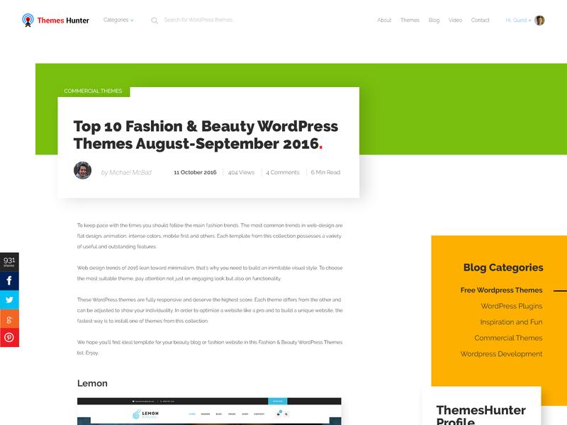 ThemesHunter - Blog Item wordpress blog design blog landing page typography clean design vector ui design illustration templates adobe photoshop cc