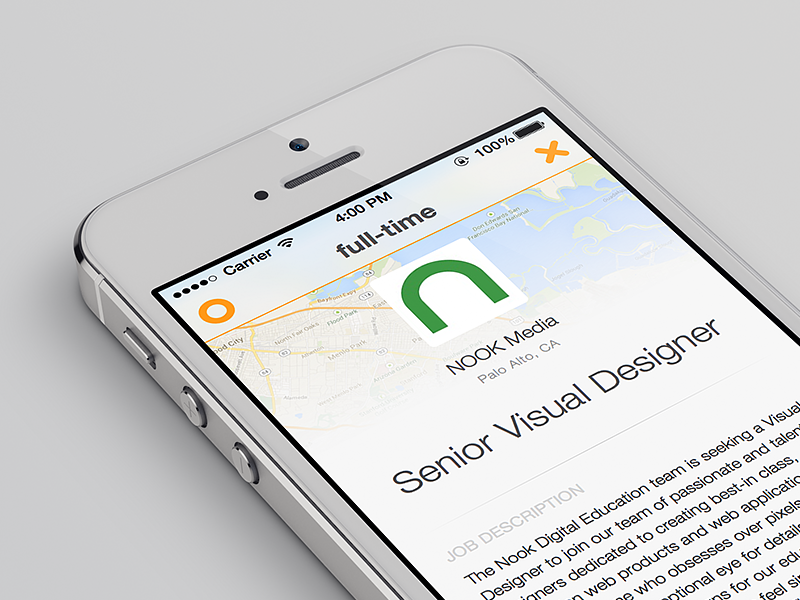 Job Details with Map iOS7 Style sketch app ui ios7 full-time jobs mobile