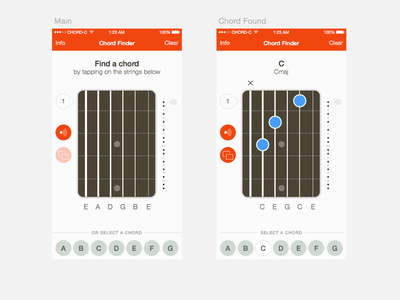 Chord Finder 3 ios sketch iphone vector product design guitar chords