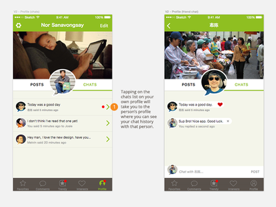 Trendy Chat to Chat interaction social ios trendy chat sketch interaction profile chat