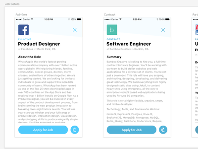 Full-time App Job Detail redesign full-time app jobs layout sketch app