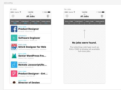 Full-time App Job Listing redesign full-time app jobs layout sketch app