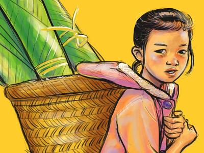 Lao Girl with Banana Leaf basket lao procreate app illustration