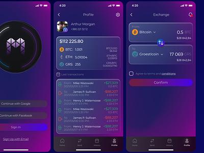 multicurrency crypto wallet glass effect minimal web logo mobile app design mobile app mobile ui crypto crypto wallet app ux ui design