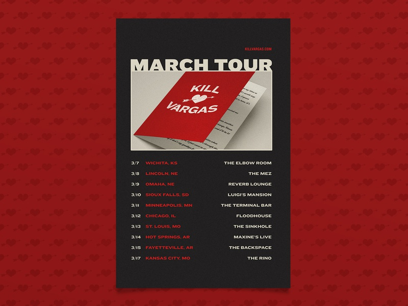 KV March Tour cupid heart valentines day punk rock punk band merch tour poster gig poster poster
