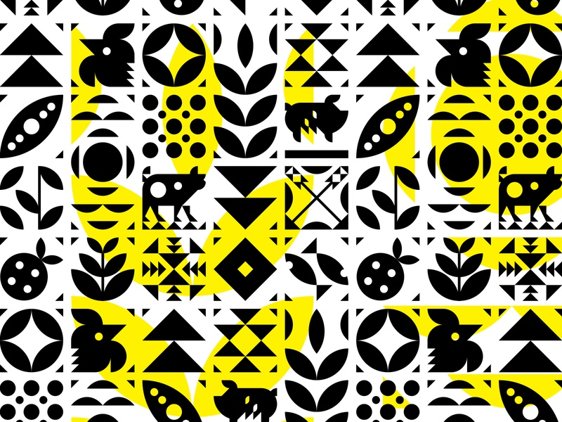 Menu Pattern icon animal geometric shape vegetables chicken cooking cow pig menu restaurant illustration pattern