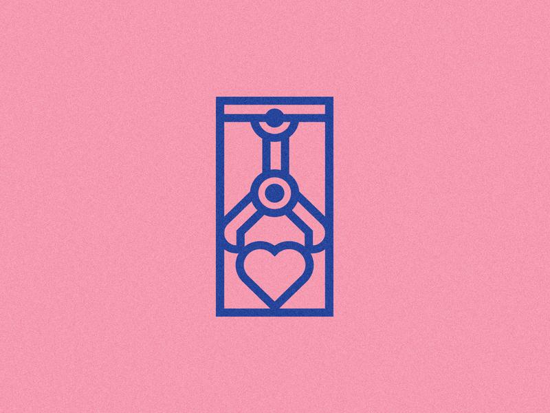 Love Games line art arcade claw heart illustration
