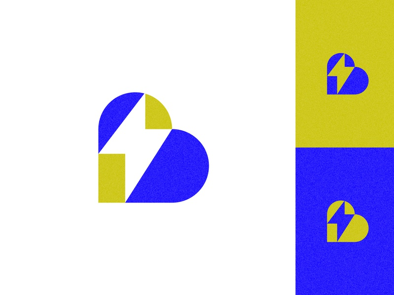 Big Machine Productions typography bolt lightning heart geometric branding icon logo