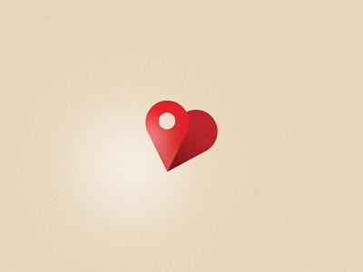 Local Love pin map heart love local icon illustration