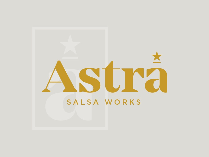 Astra typography food salsa star logo