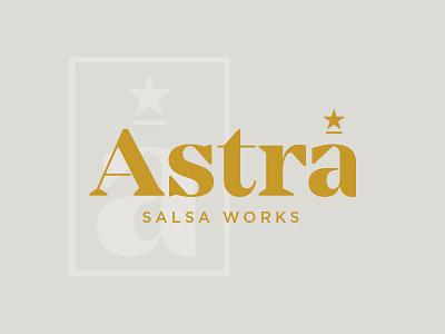 Astra typography food salsa star logo