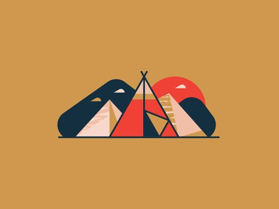 Tipi geometric illustration landscape nature camping tent teepee