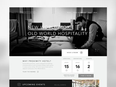 Proximity Hotel web design layout hotel website