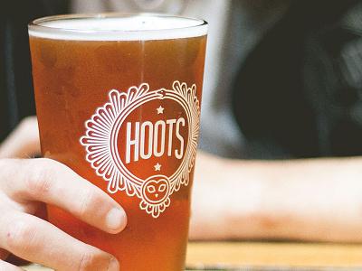 Hoots Pint Glass design pint glass beer branding logo hoots