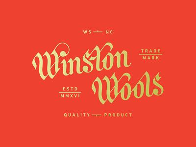 Winston Wool WIP identity branding logo design script blackletter winston wool lettering
