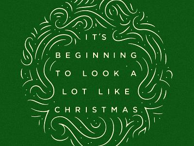 Merry Christmas card wreath flourish design christmas