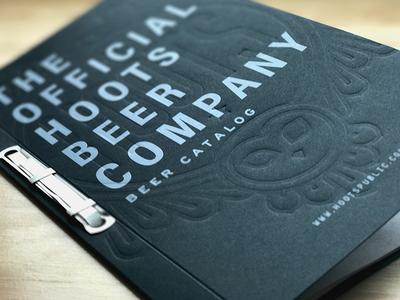 Hoots Beer Catalog brewery letterpress booklet binding owl hoots beer catalog deboss blind