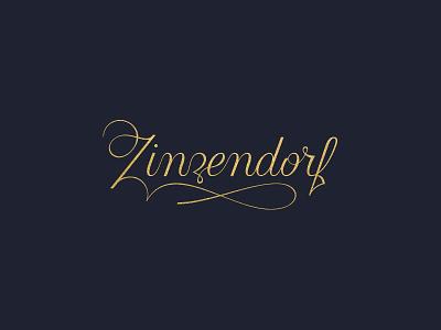 Zinzendorf WIP branding logo design spencerian lettering script