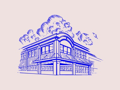 Building sketch graphic design clouds building drawing illustration