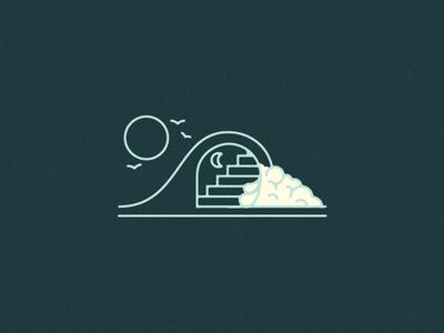 Wavecase graphic design birds moon sun illustration surf wave staircase