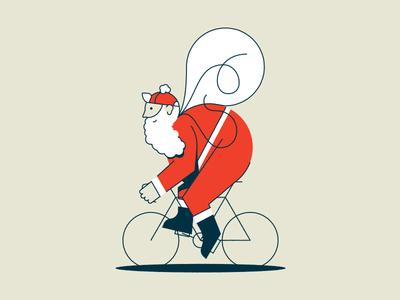 Santa Single Speed illustation holiday card christmas design single speed toys bike santa
