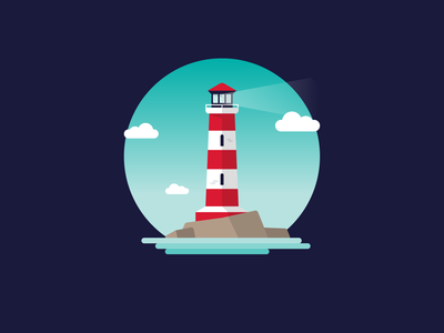 Lighthouse illustrator picture red blue colour miniature vector lighthouse illustration