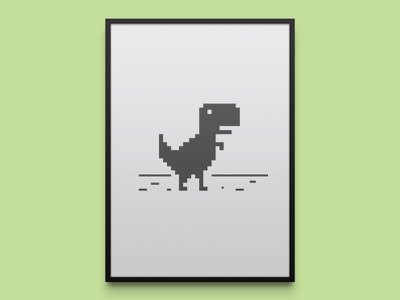 Google Chrome's Dino minimal print poster print art videogame minimal pixel gaming easer egg dinosaur google browser