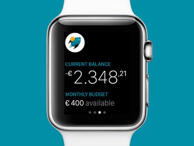 BudJet for Apple Watch glance watch budget finance app ios chart money flat numbers crown fintech