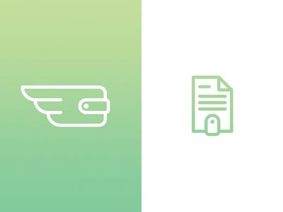 Wallet Logomark Exploration lending symbol logo finance pay fly wings document invoice paper money wallet