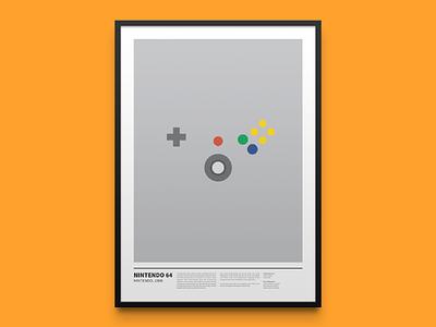 N64 nintendo64 joypad console videogame gamer minimal poster frame mario gaming nintendo