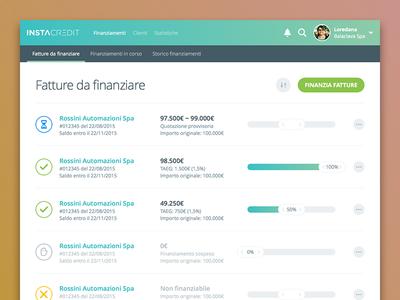 Dashboard Concept funding slider list instacredit credit finance italian loan lending app webapp invoice