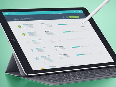 Invoices List fintech browser web invoice webapp app lending loan finance credit list slider