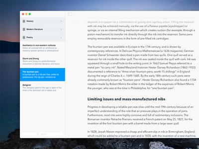 Papermind - Sidebar navigation text editor navigation sidebar writing note interface app minimal paper clean ui